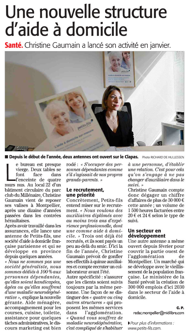 Article Midi-Libre : Petits-fils Montpellier Est s'engage auprès des personnes âgées