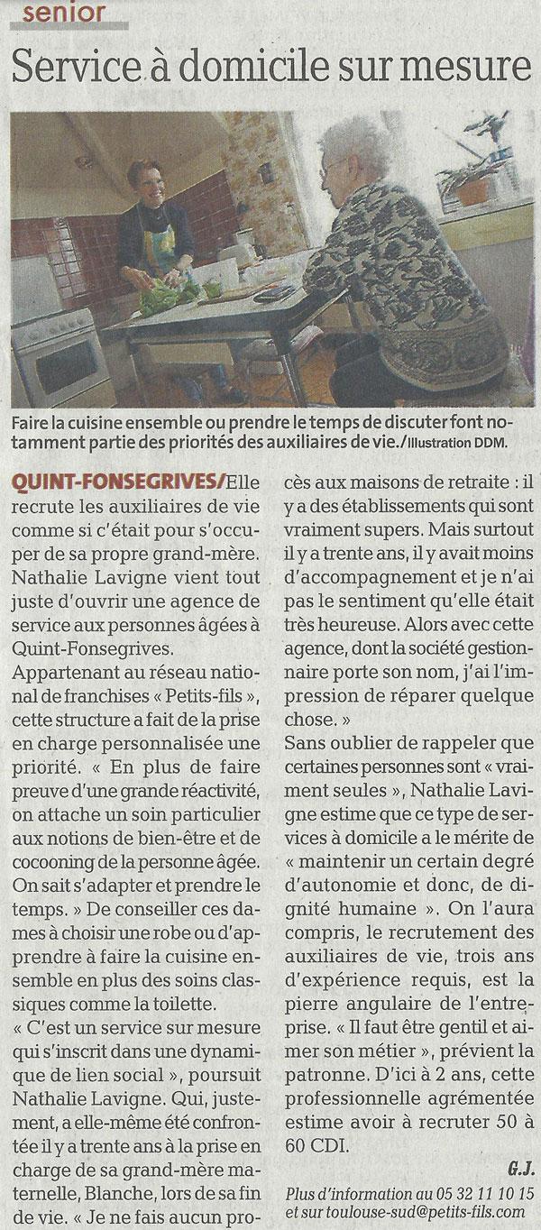 Article La Dépêche du Midi du 07092017 - Petits-fils Toulouse Sud